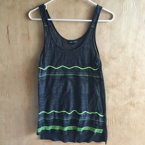 Trouvé Sheer Black and Neon Green Tank Top